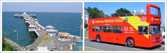 llandudno victorian pier and the sightseeing bus